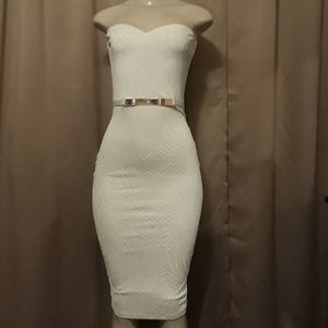 Cream dress with Gold tone accent